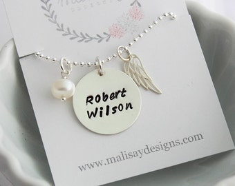 Sterling Silver Memorial necklace • Infant Loss Jewelry • Angel Wing Necklace • In Memory Jewelry • Remembrance Jewelry • Stamped Name