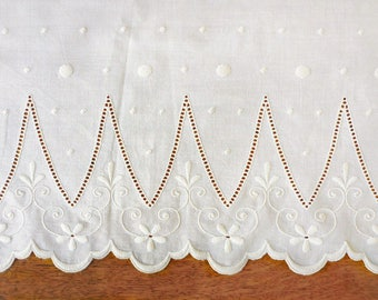 Antique Embroidered French Cotton Panel with Scallop Edges