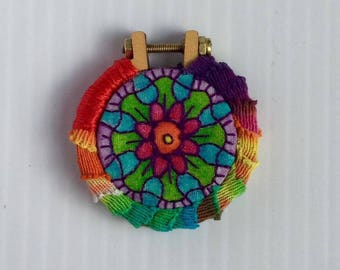 Hippie Mandala Hand Embroidered Mini Hoop Art Pendant