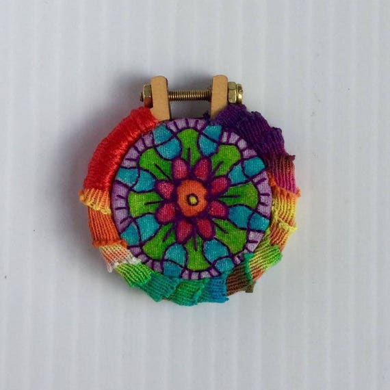 Hippie Mandala Hand Embroidered Mini Hoop Art Pendant