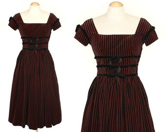 vintage 1950s LANZ dress • nipped waist striped velveteen full skirt dress