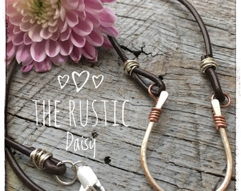 Sterling Silver Horseshoe Necklace|Leather Necklace|Lucky Charm Necklace|Rustic Horseshoe Leather Necklace|Layering