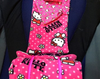 """Hello Kitty Sleeping Bag, American Girl Doll, 18"""" Doll, Flowers, Pillowcase, Hello, Kitty, Cat, Pillow, Pink, Etsy Kids, Gifts Under 95"""