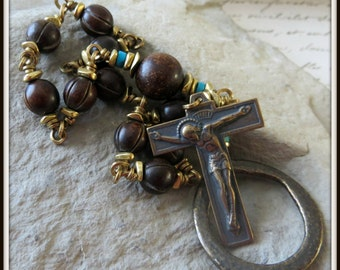 Burnt Horn Single Decade Pocket Rosary w/ Ring, Unbreakable Heirloom Quality Rosary for Men