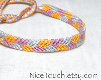 SUMMER SALE!!! Free Shipping or Save 20% ~ Pansies: Spring Series knotted friendship bracelet ~ Made to Order