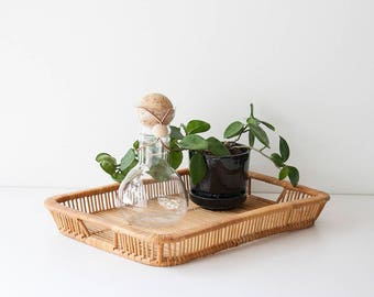 Vintage Bamboo - Wicker Serving Tray