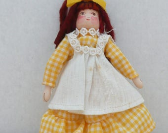 Handmade Vintage Wooden Peg Doll, Clothespin Doll