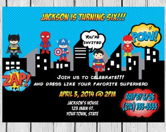 Superhero Invitation, Superhero Birthday Invitations, Avengers,Invitation,Printable Invitation,Superhero Party Invitation, Birthday Invites,