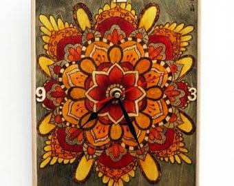 Wall Hanging Mandala Clock. Wall Clock. Wooden clock