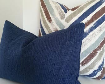 Both Sides / All Sizes / Navy Blue Basketweave Pillow Cover