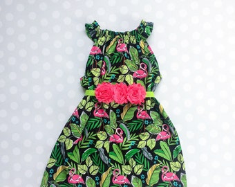 Flamingo Dress - Sleeveless Dress - Girls Spring Dress - Girls Dress - Baby Girl Dress - Girls Dresses - Summer Dresses for Girls - Tropical