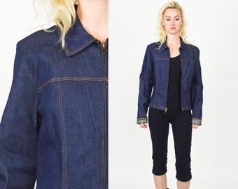 1990's DENIM JACKET Blue Denim. 90's Grunge. ZIPPERJacket.   Size S/M. 80s 90s Denim Coat. Mod Grunge Vintage Denim Shirt Coat