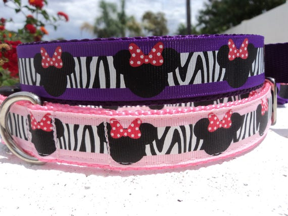"""Sale Dog Collar Wild Minnie Mouse Pink or Purple 1"""" wide Quick Release or Martingale collar - see Dark Pink collar link  within"""