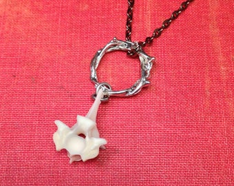 Silver Osteo Serpent: Real Large Snake Vertebrae Pendant Necklace on Crown of Thorns