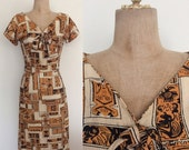 SALE 1950's Cotton Tiki Print Wiggle Dress Bow Bust Vintage VLV Pin Up Novelty Print Dress Size Small Medium by Maeberry Vintage