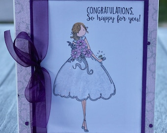 Bridal Shower Congrats Card, Engagement Congratulations Card, Bride to Be Congrats Card, Stamping Bella Bride to Be, Copic Colored Bridal