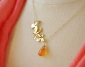 Silver Cascading Orchid Necklace with Peridot Gemstone