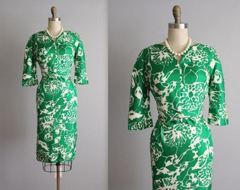 50's Silk Cocktail Dress // Vintage 1950's Green Floral Silk Fitted Cocktail Party Dress