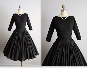 50's Party Dress // Vintage 1950's Black Full Cocktail Party New Look Dress XS
