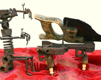 Vintage Outsider Art Piano Player Assemblage: Rustic Metal Folk Art / Self Taught Sculpture -- Hardware, Tools, Automotive Parts