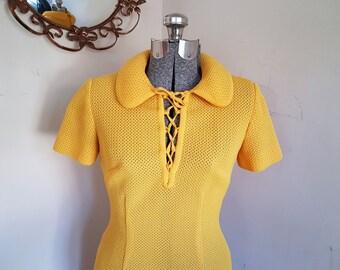 Vintage Yellow Dress Peter Pan Collar