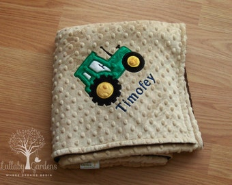 Tractor Personalized Minky Baby Blanket, Personalized Minky Baby Blanket, Personalized Baby Blanket, Appliqued Baby Blanket