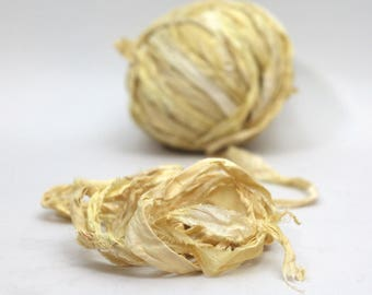 """Recycled Sari Ribbon ,by the yard, """"Pale Mustard"""" hand dyed chiffon ribbon, jewelry making, doll clothing, spinning supplies"""