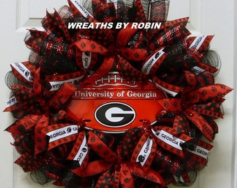 CHRISTMAS SALE Georgia Sports Wreaths, Georgia College Wreaths, UGA, Bulldogs