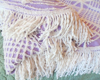 Purple. Chenille Bedspread. Fringed Chenille. Lavender. Fringed Bedspread. Full Bedspread. 94 x 100. Bedspread. 1960s. 1970s.