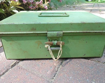 Metal LOCK BOX. FRIES. Industrial. Office Lock Box. Document Box. 1940s Metal Box. Lock Box.  Money Box Primitive Lock Box. Metal Box