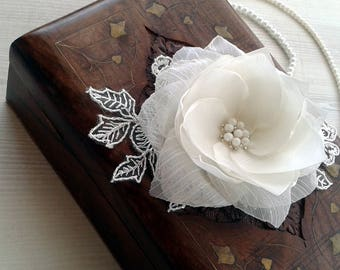 Wedding hair comb, Wedding hair flower, White Satin and Organza flower clip with French Netting Veil