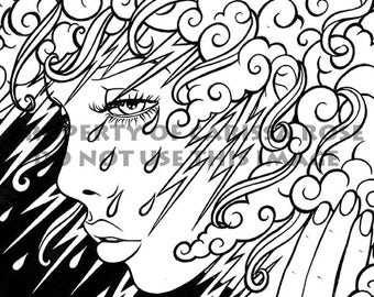 digital download print your own coloring book outline page thinking of you by carissa rose - Print Your Own Coloring Book