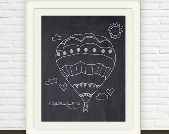 Hotair Balloon Art Print with Chalkboard Background // Instant download // oh the places you will go // Black and White Nursery Wall Art