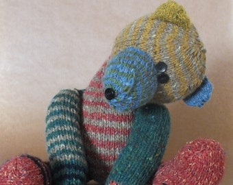 Teddy bear, hand knitted bear, toy, wool, multi colour