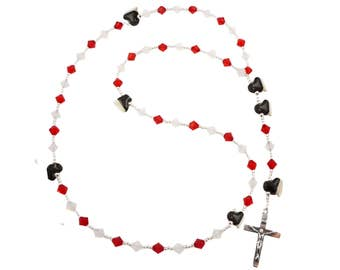 Hockey Rosary First Communion - Hockey Skates- Red White/ personalized Name- or any sports and color crystal swarovski