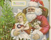 Santa Claus With Little Girls Embossed Antique Christmas Postcard Stecher Litho 1914