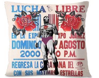 LUCHA LIBRE Pillow Cover - Mexican Wrestler - Wrestling Mask - Professional Wrestling - Pop Culture - European Linen Backing