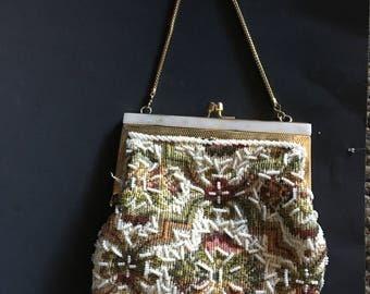 Vintage Roses beaded Handbag