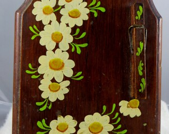 Recipe Holder Vintage Wooden Painted Country Style Note or Recipe Holder Floral Recipe Holder