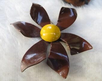 Large Brown Enameled Flower Brooch Metal Floral Brooch Brown Daisy Type Brown and Yellow Vintage Enameled Metal Brooch