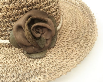 olive green taupe leather hat pin brooch by Tuscada. Ready to ship.