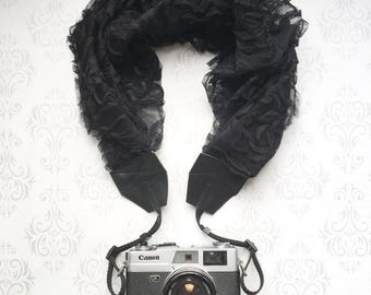 Lace Scarf Style Ruffled Camera Strap, DSLR Camera Strap, Vintage, Nikon, Canon, DSLR Photography, Photographer Gift - Rosebud Black Lace