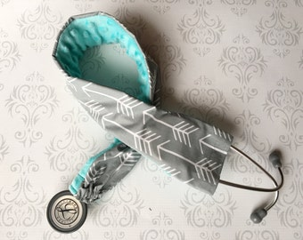 Padded Stethoscope Cover, Gift for a Nurse, RN, Doctor, Med Student, Nursing Student, Medical Assistant, EMT - Big Gray Arrows with Aqua