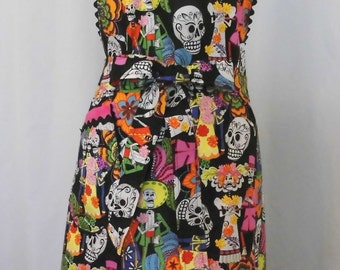 Apron Handmade Day of the Dead Fabric Bib Apron for Women/Misses Size Large Ready to Ship