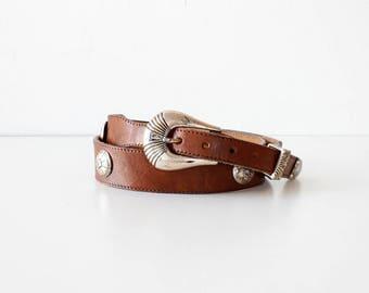Justin Southwestern Belt • Studded Leather Belt • 90s Belt • Western Leather Belt • Vintage Belt • Brown Leather Belt | BT334
