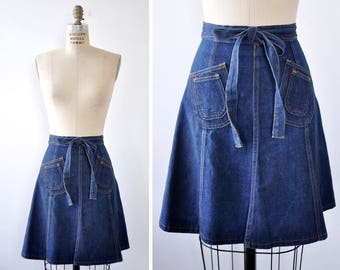 Denim Mini Skirt XS • Vintage Wrap Skirt • 70s Skirt • Denim Wrap Skirt • Skirt with Pockets • Flare Skirt • Summer Skirt | SK776
