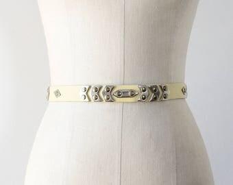 80s Belt • Studded Leather Belt • Vintage Belt • Southwestern Belt • Pale Yellow Belt • Studded Belt • Western Leather Belt   BT335