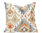 15% Sale Decorative Pillow Covers - Gray and Orange Ikat Pillow Covers - Gray Orange Pillow Covers - Ikat Cushion Covers - Sofa Pillows
