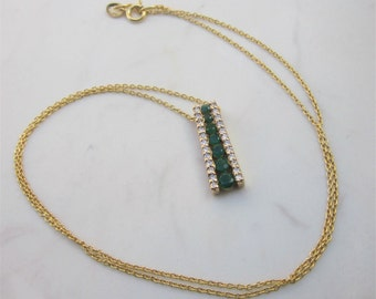 Vintage 14k Solid Yellow Gold, Emerald and Diamond Bar Pendant with 16 inch 14k Yellow Gold Chain // Vintage Necklace //