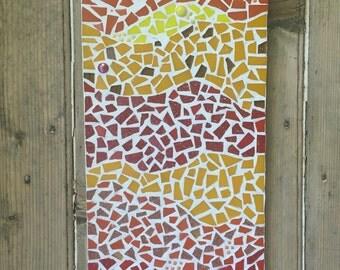 Large warm mosaic art panel